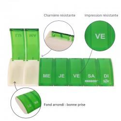 Pilulier 7 cases Box7 Vert avec étui en cuir noir