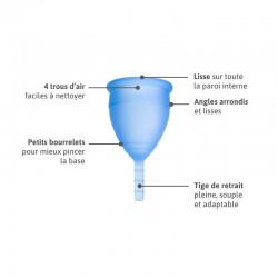 Coupe menstruelle Lunacopine bleue et sa composition