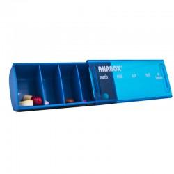 Pilulier journalier Anabox bleu ouvert